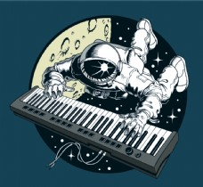 宇航员弹钢琴