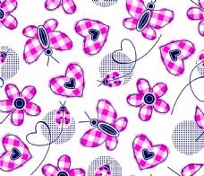 格纹装饰蝴蝶平铺图