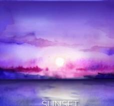 紫色水彩绘海上日落风景