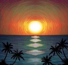 创意海边日落和椰子树风景