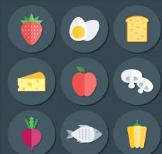 9款扁平化圆形食物图标