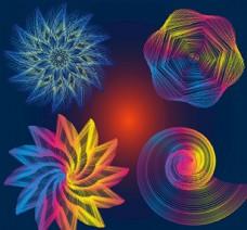 AI彩色抽象异形线条