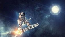 星空月球宇航员高清大图素材