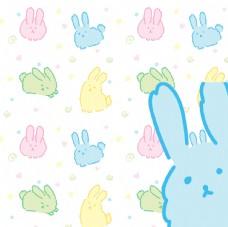 卡通兔子彩色平铺图