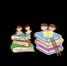 小孩 看书 书堆 学习 读书