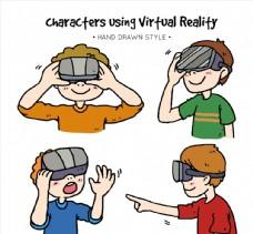 4款彩绘戴VR头显的男孩