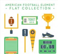 8款扁平化美式足球元素