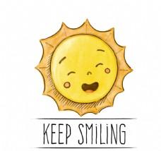 彩绘太阳保持微笑插画矢量图