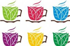 各种颜色的咖啡杯