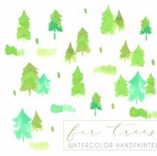 水彩绘松树林无缝背景矢量图