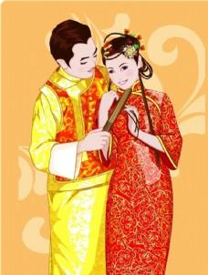 卡通新娘新郎