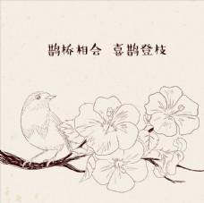手绘盛开梅花鸟儿和分支树杈图案