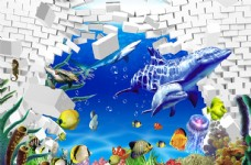 立体砖墙海底世界背景墙