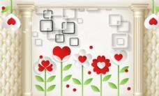 花朵方块软包背景墙