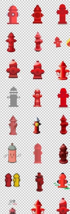 消防栓红色卡通手绘消防栓素材免