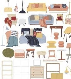 手绘家居梦想家园居家家具沙发