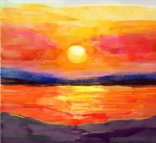美丽海边落日风景