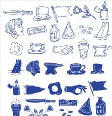 黑白单色矢量食物与厨房用品