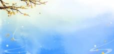蓝色清新水彩涂鸦背景