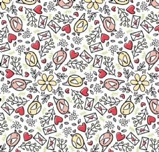 可爱情书和鸟无缝背景矢量图