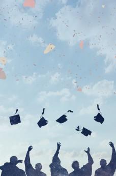 畢業季簡約學士帽歡呼慶祝校園