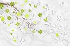 小清新花瓣绿叶电视背景墙壁纸
