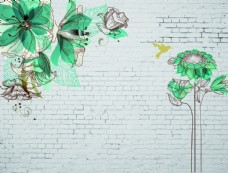 向日葵砖墙背景