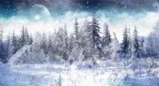 冬天雪景背景素材