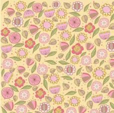 彩绘花朵树叶无缝背景矢量素材