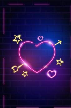 霓虹灯墙体爱心情人节背景