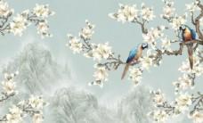 中式花鸟电视背景墙