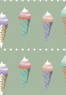冰淇淋 图案 矢量图