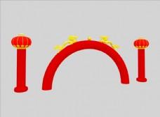 双龙拱门灯笼柱3D模型