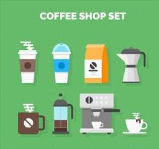 扁平化咖啡店物品