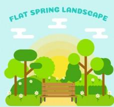 扁平化春季郊外长椅风景矢量素材
