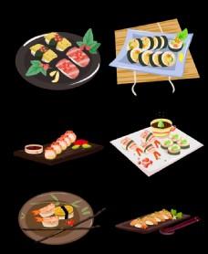特色日式料理寿司刺身手绘插画