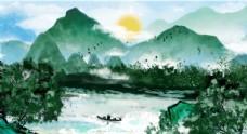 唯美青山绿水中国水墨画