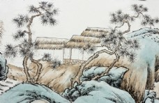 山间茅屋工笔画