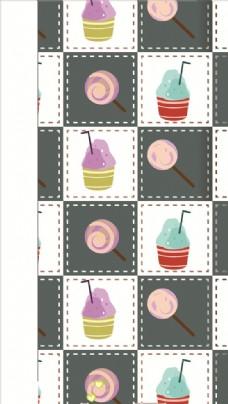 波板糖时尚可爱网格背景