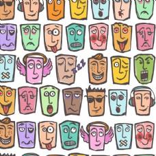 抽象表情面具无缝背景