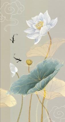 新中式手绘素荷花玄关装饰画