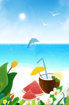 夏天椰子背景