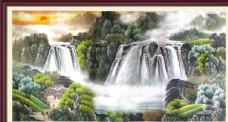中国风山水风景水墨画