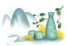 重阳节手绘山和古酒