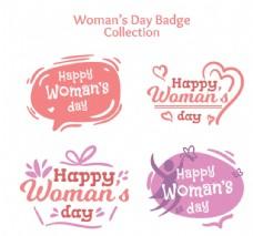 4款彩绘妇女节快乐徽章矢量素材