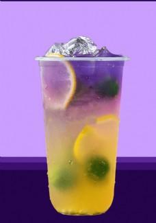 魔法星空柠檬青橘水果气泡茶