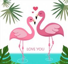粉色火烈鸟情侣