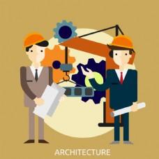 创意卡通工地建筑师矢量图