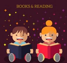 2个可爱读书的儿童