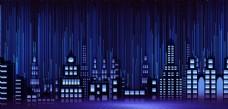 梦幻夜晚城市剪影广告海报背景图